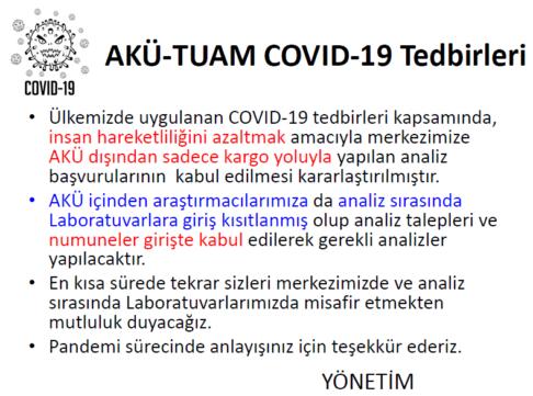 MERKEZİMİZİN COVID-19 TEDBİRLERİ HAKKINDA DUYURU